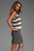 Image 3 of MILLY March Knits Reverse Jersey Stripe Blouson Dress in Cinder/Bone
