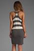 Image 4 of MILLY March Knits Reverse Jersey Stripe Blouson Dress in Cinder/Bone