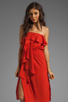 Image 1 of MM Couture by Miss Me Strapless Ruffle Dress in Red