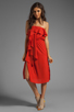 Image 2 of MM Couture by Miss Me Strapless Ruffle Dress in Red