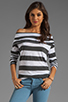 Image 1 of Market Charcoal Stripe Elsa Top in White