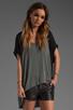 Image 1 of Michael Lauren Flynn Contrast Top in Heather Grey/Black