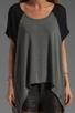 Image 3 of Michael Lauren Flynn Contrast Top in Heather Grey/Black