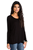 Image 2 of Michael Lauren Hunter Draped Tee in Black