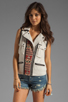Image 2 of Maison Scotch Washed Linen Vest in Khaki