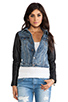 Image 2 of Maison Scotch Denim with Leather Sleeve Jacket in Med Blue