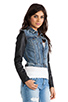 Image 3 of Maison Scotch Denim with Leather Sleeve Jacket in Med Blue