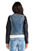 Image 4 of Maison Scotch Denim with Leather Sleeve Jacket in Med Blue