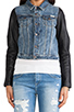 Image 5 of Maison Scotch Denim with Leather Sleeve Jacket in Med Blue