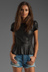 Image 1 of Muubaa Aquila Leather Peplum Shirt in Black