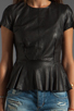 Image 3 of Muubaa Aquila Leather Peplum Shirt in Black