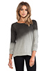 Image 1 of My Line Penny Dolman Ombre Print Off the Shoulder Pullover in Black Spray