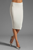 Image 1 of Norma Kamali Modern Vintage Jersey Pencil Skirt in White
