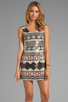 Image 1 of Nanette Lepore Aztec Linen Dress in Black Multi
