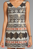 Image 5 of Nanette Lepore Aztec Linen Dress in Black Multi