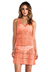 Image 1 of Nanette Lepore Cosmic Crochet Tank Dress Cover Up in Flamingo