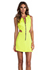 Image 1 of Naven Retro Cutout Dress in Chartreuse
