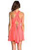 Image 4 of Naven Criss Cross Vixen Dress in Neon Peach