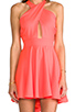 Image 5 of Naven Criss Cross Vixen Dress in Neon Peach