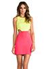 Image 1 of Naven 2 Tone Cutout Dress in Neon Yellow/Neon Salmon
