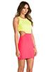 Image 3 of Naven 2 Tone Cutout Dress in Neon Yellow/Neon Salmon