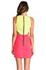 Image 4 of Naven 2 Tone Cutout Dress in Neon Yellow/Neon Salmon