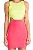 Image 5 of Naven 2 Tone Cutout Dress in Neon Yellow/Neon Salmon