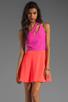 Image 1 of Naven 2 Tone Bella Circle Dress in Pop Pink/Neon Salmon