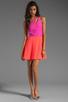 Image 2 of Naven 2 Tone Bella Circle Dress in Pop Pink/Neon Salmon