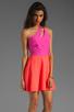 Image 3 of Naven 2 Tone Bella Circle Dress in Pop Pink/Neon Salmon