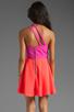 Image 4 of Naven 2 Tone Bella Circle Dress in Pop Pink/Neon Salmon