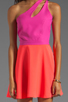 Image 5 of Naven 2 Tone Bella Circle Dress in Pop Pink/Neon Salmon