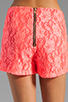Image 6 of Naven Hot Shorts in Neon Salmon Lace