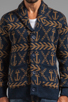 Image 5 of Obey Anchors Heavyweight Cardigan in Dark Navy