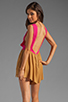 Image 1 of One Teaspoon Heartbreaker Cali Colorblock Mini Romper in Hot Pink/Tobacco