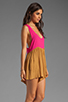 Image 3 of One Teaspoon Heartbreaker Cali Colorblock Mini Romper in Hot Pink/Tobacco