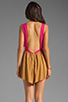 Image 4 of One Teaspoon Heartbreaker Cali Colorblock Mini Romper in Hot Pink/Tobacco