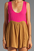 Image 5 of One Teaspoon Heartbreaker Cali Colorblock Mini Romper in Hot Pink/Tobacco