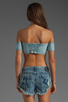 Image 2 of One Teaspoon Freaky Love Denim Bustier in Blue Moon