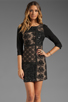Image 1 of Plenty by Tracy Reese Patchwork Lace Front Shift Dress in Black/Silver