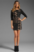 Image 2 of Plenty by Tracy Reese Patchwork Lace Front Shift Dress in Black/Silver