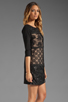 Image 3 of Plenty by Tracy Reese Patchwork Lace Front Shift Dress in Black/Silver