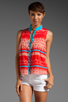 Image 1 of Plenty by Tracy Reese Sleeveless Shirt in Fiesta/Apricot