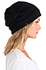 Image 2 of Plush Barca Slouchy Hat w/ Fleece Lining in Black