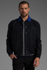 Image 1 of Fred Perry x Raf Simons Bomber Jacket w/ Detachable Collar in Navy