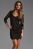 Image 1 of Riller & Fount Tyra Long Sleeve Shirred Mini with Fishnet Sleeves in Black