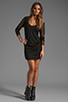 Image 2 of Riller & Fount Tyra Long Sleeve Shirred Mini with Fishnet Sleeves in Black