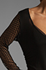 Image 6 of Riller & Fount Tyra Long Sleeve Shirred Mini with Fishnet Sleeves in Black