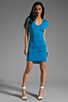 Image 2 of Riller & Fount Heidi Cap Sleeve Shirred Mini with High Low Hem in Blueberry