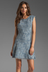 Image 1 of Rebecca Taylor Frayed Fit & Flared Dress in Navy